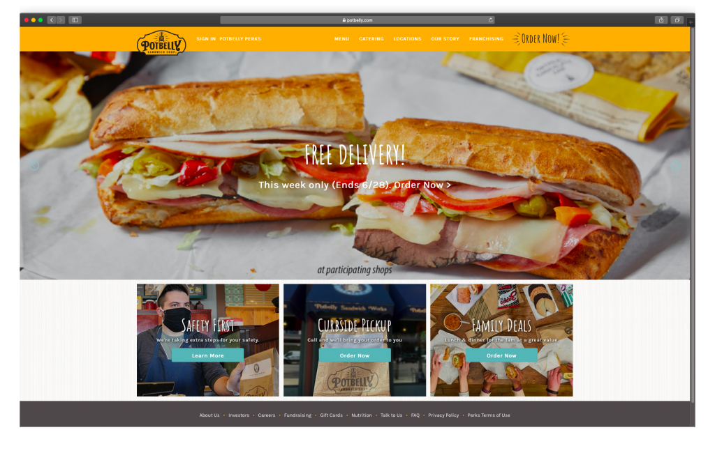 Potbelly homepage